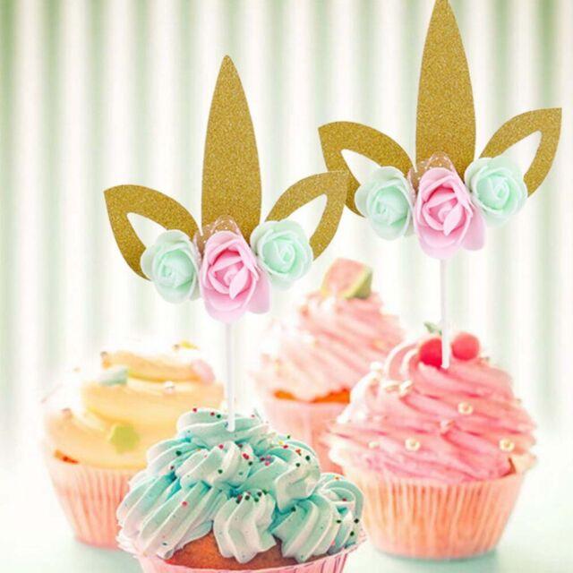 Flower Unicorn Paper Cake Toppers For Baby Shower Birthday Wedding