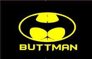 Buttman Vinyl Decal Sticker Glass Window Batman Funny Humor Sexual Car