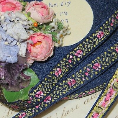 1y VTG FRENCH BLUE ROSE FLOWER JACQUARD RIBBONWORK TRIM DOLL DRESS MILLINERY HAT
