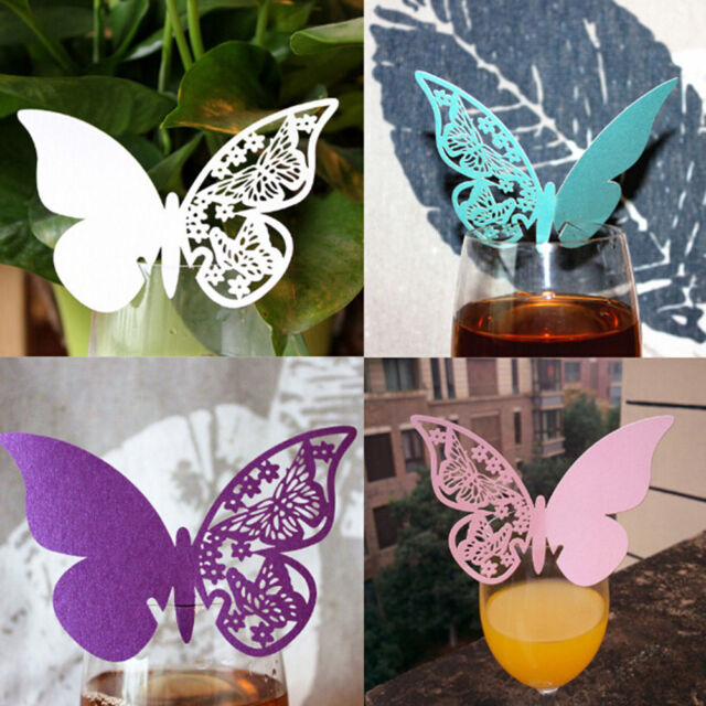 50 Laser Cut Butterfly Table Mark Wine Glass Name Place Card Wedding Party BR