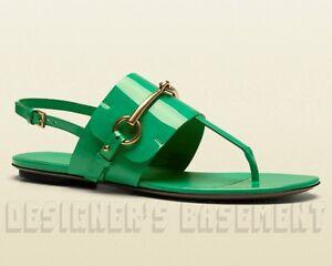 GUCCI-Jasmine-green-35-5-Patent-Leather-URSULA-thong-HORSEBIT-sandals-NIB-Authen