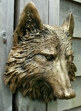 Timber Wolf Wall Plaque Hanging Figurine Home or garden waterproof in bronze