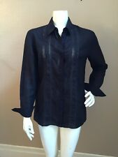 Brooks Brothers Irish Linen Women's Black 100% Linen Button Front Shirt NWOT! 10