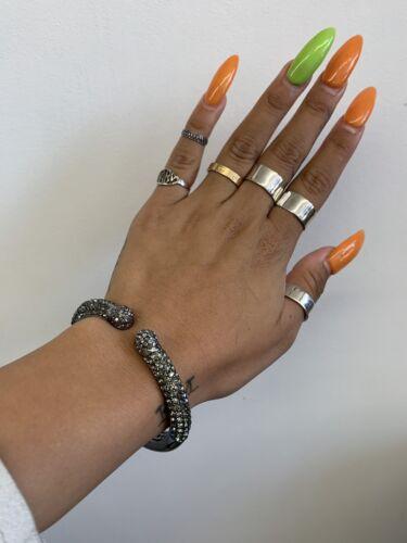 Joan Boyce Gunmetal Grey Crystal Clamper Bracelet�