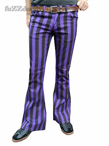 Mens-Purple-Black-Striped-Bell-Bottoms-Flares-Hippie-vtg-Indie-Trousers-60-039-s-70s