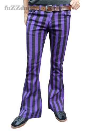 60s – 70s Mens Bell Bottom Jeans, Flares, Disco Pants   Mens Purple Black Striped Bell Bottoms Flares Hippie vtg Indie Trousers 60s 70s $42.63 AT vintagedancer.com
