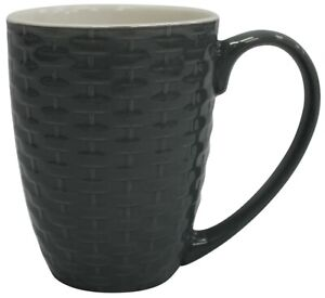 Set-of-4-New-Bone-China-Large-Rattan-Style-Coffee-Mugs-Grey-340ml-Capacity