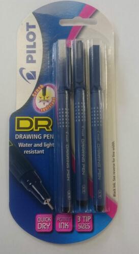 FREE POSTAGE Pilot DR Drawing Pen Black Pack of 3-0.1mm 0.3mm 0.5 mm