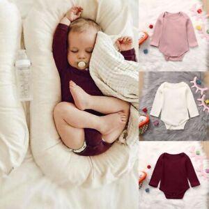 Newborn-Infant-Baby-Girls-Boys-Long-Sleeve-Solid-Romper-Soft-Bodysuit-Clothes-AU