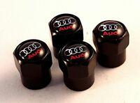 AUDI Black Wheel Tyre Valve Dust Caps set x4 RS S6 A2 Anti Theft S line A4 SQ5