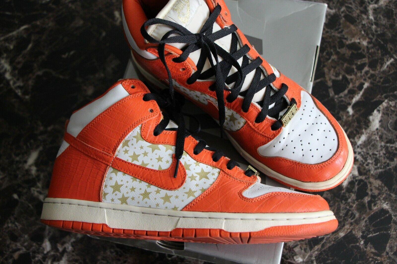 Nike Dunk High SB Pro Supreme orange Star Men's 10.5 Jordan Cement 307385 181
