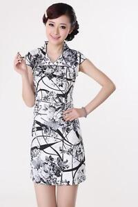 8217eb104ce Mini Robe Chinoise Qi-Pao Blanc Noire en Coton Tissé Imprimé Tailles ...