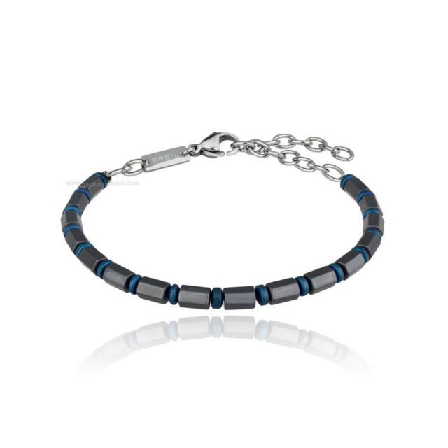 Bracciale Breil Uomo Kripton Collection acciaio IP blu e ematite Ref. TJ2661