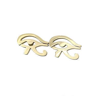 Acciaio Inossidabile Oro Udjat Occhio Di Horus Egypt Tribali Orecchini A Perno Egiziano-mostra Il Titolo Originale Con Il Miglior Servizio
