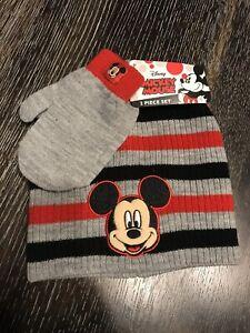 Disney-Mickey-Mouse-Sombrero-Gorra-Y-Guantes-Conjunto-Beanie-edades-2-7