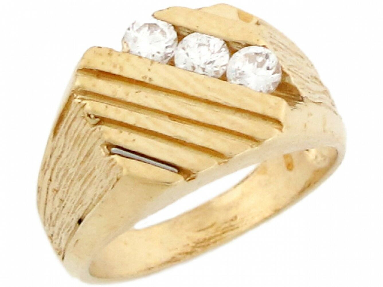 10k or 14k Yellow gold Triple White CZ Square Solid Designer Baby Ring