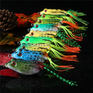 9pcs/lot Frog Topwater Fishing Lure Soft Crankbait Hook Bass Lure Wobbler Tackle