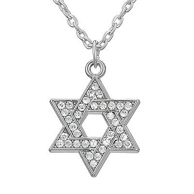 """Silver Two Star of David Jewish Pendant Chain Collar Necklace 18/"""" Religious"""