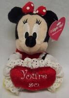 Walt Disney Store Light Up Minnie Mouse W/ Heart 5 Stuffed Animal