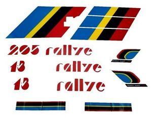 AUTOCOLLANTS-STICKERS-BANDES-KIT-COMPLET-PTS-LOGOS-PEUGEOT-205-RALLYE-1-3