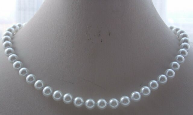 """AAA 18/"""" 10mm Round White Shell Pearl Necklace Wedding Present Bride Occasion"""