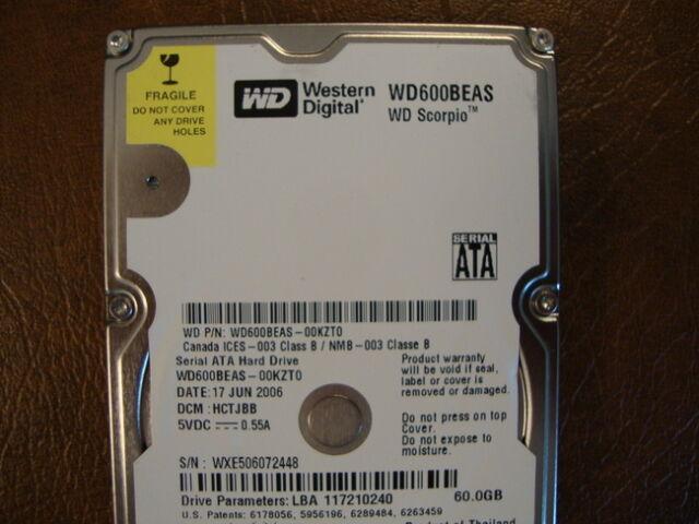"""Western Digital WD600BEAS-00KZT0 DCM:HCTJBB 60gb 2.5"""" Sata Hard Drive"""