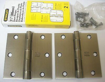 """(12) Stanley Hardware 3.5"""" Residential Door Hinges Square Corner Antique Nickel Wees Vriendelijk In Gebruik"""