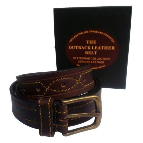 Genuine Australiano 100/% Cintura in vera pelle pieno fiore di qualità Fibbia Aussie