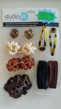 STUDIO 35 BEAUTY ASSORTED HAIR CLIPS, SNAPS & ELASTICS, 21 PCS, NWT