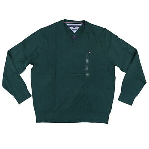 Tommy-Hilfiger-Sweater-V-Neck-Pima-Cotton-Pullover-Top-Xxl-Green-New-Damaged