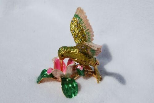 COLORFUL HUMMINGBIRD SWAROVSKI CRYSTAL BEJEWELED ENAMELED HINGED TRINKET BOX