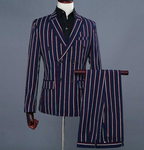 Mens Suits 2PCS Coat Blazer Formal Dress Stand Collar Pants Stripe Slim Wedding