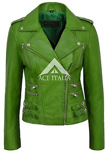 Giacca da in pelle Style 7113 Motorcycle Napa Designer donna Parrot Green O7OrEwxd