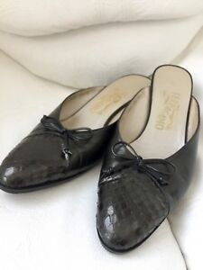 43997b9c7fc Image is loading Authentic-Salvatore-Ferragamo-Black-Leather-Slip-On-Shoes-