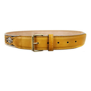 Alexander-McQueen-Ochre-Yellow-Leather-Skull-Embroidered-Belt-IT95-W38