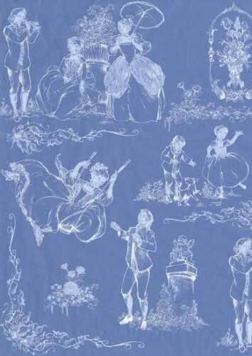 3er Pack DecoPatch Papier Nr 519 blau weiß Personen Figuren Design Bastelpapier