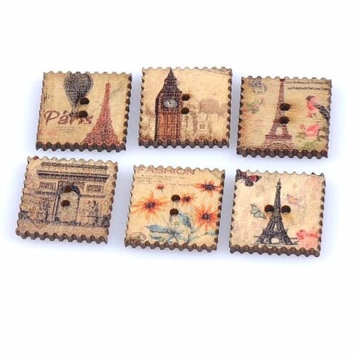 1177 Craft Wood Stamp Buttons 20mm Lot of 10 FAMOUS BUILDINGS 2-hole 3//4/""