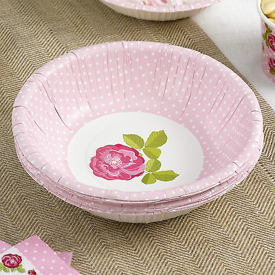 8 PAPER BOWLS VINTAGE ROSE  Tea Party Wedding Pink White Sage Green Roses
