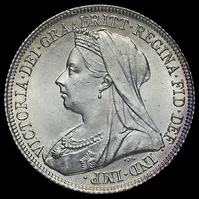 1900 Queen Victoria Veiled Head Silver Shilling, A/UNC