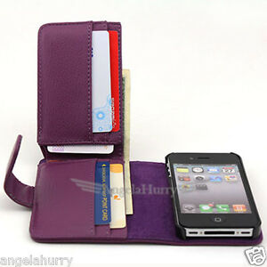 Purple-Premium-Full-Size-Pocket-Flip-Leather-Case-Cover-For-Apple-iPhone-4GS-4G