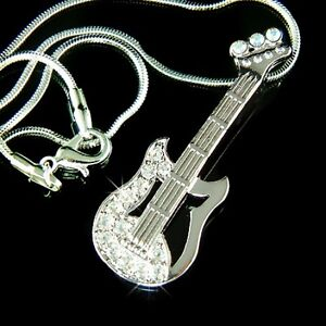 New W Swarovski Crystal Rock Music Musical Electric Guitar Pendant