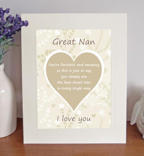 Grande-Nan je//nous vous aimons autoportante photo 8 x 10 Imprimé Fun Sentimental Cadeau