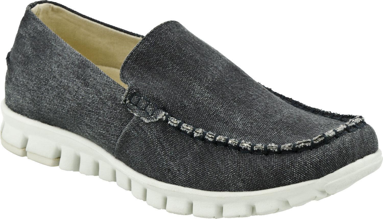 NoSox Women's Black Grey Moc Canvas Casual Slip On Everyday Shoes Size 8.5-11
