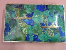 Los Castillo Taxco Mexico Dose Silber Malachit Einlegearbeit Libelle box 15240