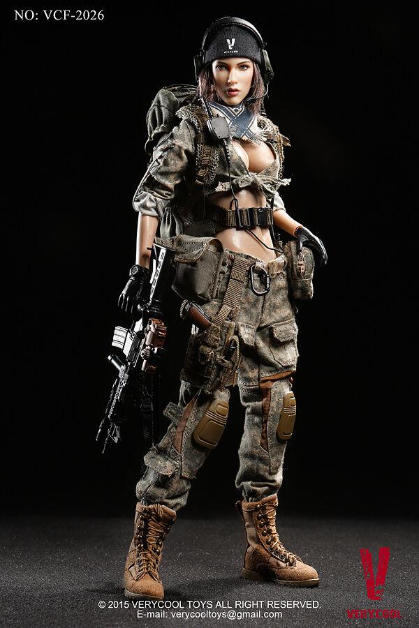 1  6 Mycket häftigta leksaker VCF -2026 ACU Camo Kvinnliga soldater Shooter Action Figur
