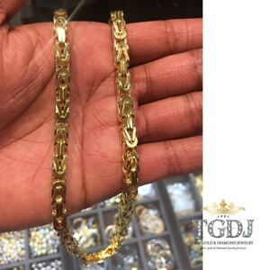 ddce8306bb8d0 Details about 14k Solid Yellow Gold Byzantine Fancy 30