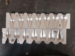 FISHING 5 IN 1 FLAT PEAR LEAD WEIGHT MOULD  2oz 2.5oz 3oz 3.5oz 4oz CNC