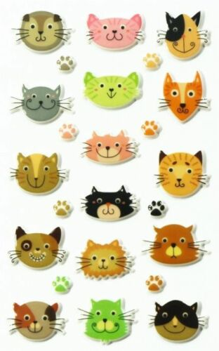 Maildor 24 tlg 3D Sticker Sticker Set Cooky Katzenköpfe