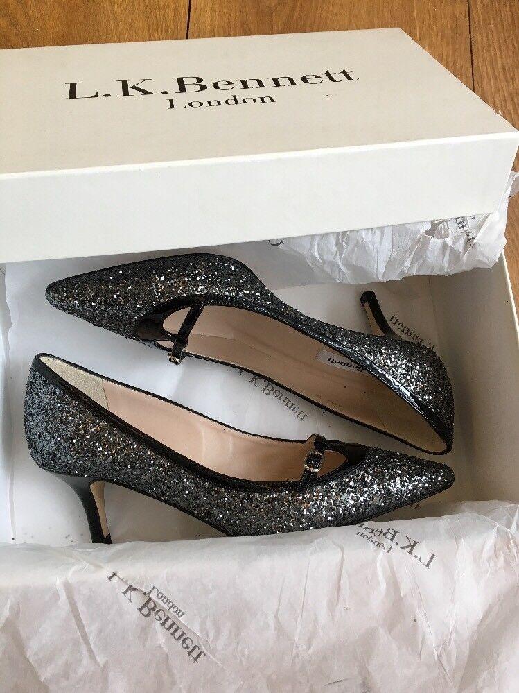 LK Bennett Heidi Glitter shoes Size 36 UK 3 New Black Silver Court Party Cruise