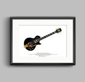 jimmy page 39 s 1960 gibson les paul custom black beauty art poster a3 size ebay. Black Bedroom Furniture Sets. Home Design Ideas